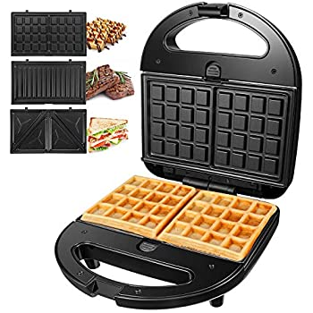 OSTBA Sandwich Maker 3-in-1 Waffle Iron 750W Panini Press Grill with 3 Detachable Non-stick Plates LED Indicator Lights Cool Touch Handle Easy to Clean