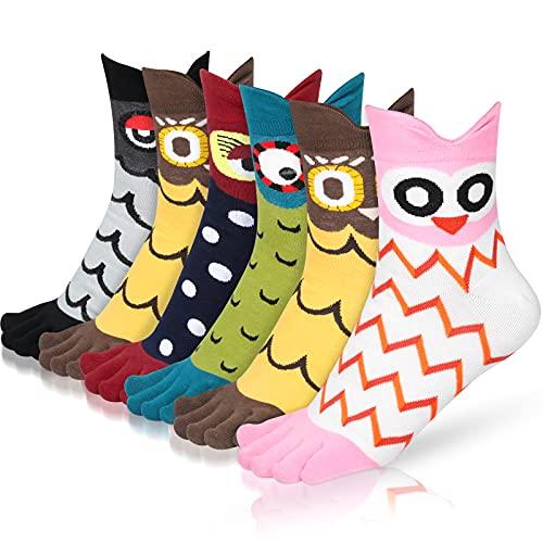 Emooqi Calcetines de Mujer, 6 pares de Calcetines de Dedo del Pie Para Mujer...