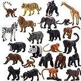 Animals Figures,24 Pcs Realistic Animal Toy Set with Lion,Panda,Monkey,Zebra,Tiger,Elephant,Giraffe etc,Cake Toppers Birthday Gift for Kids