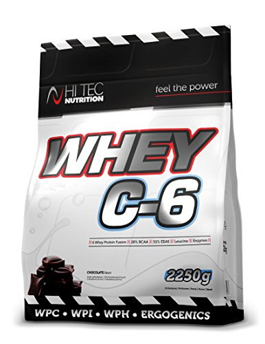 Hitec Nutrition Whey C6 2250g Hydrolisate Isolate Concentrate Whey Protein BCAA Flavour Chocolate