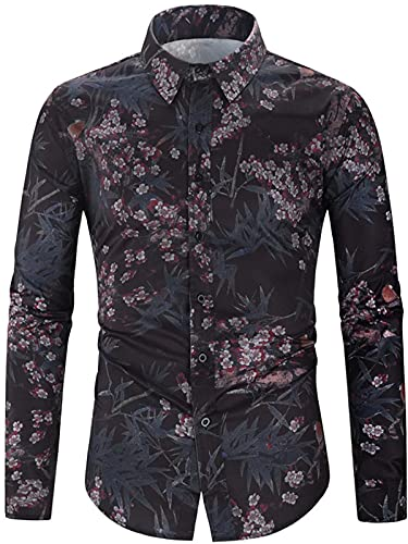 Men's Button-Down Shirts Personalized Vintage Style Floral Print Slim Fit Easy