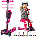 S SKIDEE Scooter for Kids with Foldable and Removable Seat – Adjustable Height, 3 LED Light Wheels, 3 Wheels Kick Scooter for Girls & Boys 2-12 Years Old - Y200