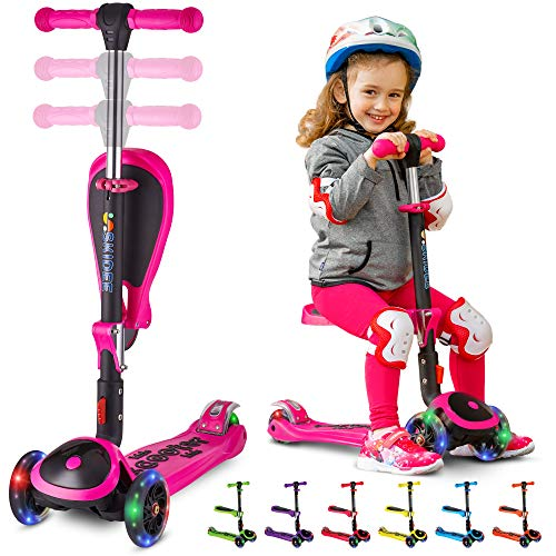 Kick Scooters for Kids Ages 3-5 (Suitable for 2-12 Year Old) Adjustable Height Foldable Scooter Removable Seat, 3 LED Light Wheels, Rear Brake, Wide Standing Board, Outdoor Activities for Boys/Girls