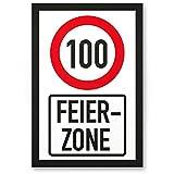 DankeDir! 100 Jahre Feierzone, Kunststoff Schild - Geschenk 100. Geburtstag, Geschenkidee Geburtstagsgeschenk Hundertsten, Geburtstagsdeko/Partydeko/Party Zubehör/Geburtstagskarte