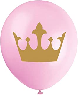 MAGJUCHE Pink Little Princess Balloons, 16pcs Gold Girl Crown Baby Shower or Birthday Party Decorations, Supplies
