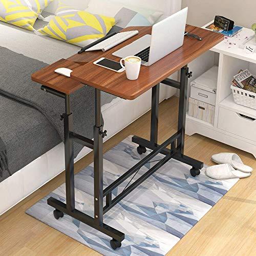 Mesa de escritorio para ordenador portátil, altura ajustable, con rueda, mesita de noche, para casa, oficina, dormitorio, hogar, oficina, (tamaño: 80 x 58 x 65 – 90 cm, color: marrón)