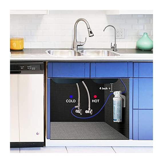 """Frizzlife Under Sink Water Filter-NSF/ANSI 53&42 Certified Drinking Water Filtration System-0.5 Micron Removes 99.99… 8 【Two-Stage Advanced Water Purifier with 0.5 Micron】: The Frizzlife MP99 Water Filtration System include a TWO-STAGE High precise compound filter, which has a unique technology that removes over 99.99% of contaminants while leaving in all essential minerals. Eliminates Lead, Heavy Metals, Chlorine, Chromium 6, Mercury, Rust, Volatile Organic Compounds, Carcinogens, and other contaminants, such as Turbidity, Ordors and Bad Tastes. enjoy pure and healthy water from the tap. no more bottle water! 【Dedicated Faucet & Brass Feed Water Adapter Valve Included】: Frizzlife Undersink water filtration system includes a dedicated stailess steel faucet that can installed in most sinks providing cleaner filtered water for cooking or drinking. NO plumbing required, it come with 3/8"""" compatible brass feed water adapter, brackets and STEP-TO-STEP Installation manual, you can mount the water filter as you wish within 10 minutes. 【Best Auto Shut Off Design】: Utilizing quick change twist-in installation design makes it take less than 3 minutes for you to install the system or doing a filter replacement. Provides for easy, tool-free, no mess filter replacement. The filter cap is designed with BUILT-IN shut off valve. You don't even need to shut off the water supply whenever you work on the filter cartridge replacement."""