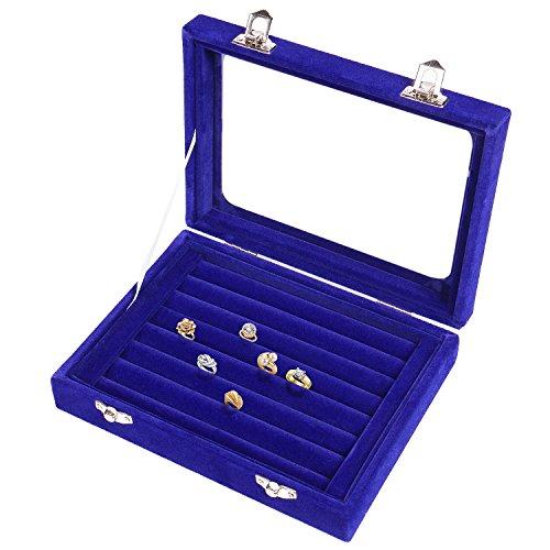 Meshela Neu Damen Schmuckkasten Schmuck Box Etui Schmuck Veranstalter Disply Aufbewahrungsbox Ringe Ohrringe Halskette (Blau)