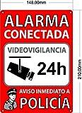 Cartel Alarma Conectada A5 Interior/Exterior | Placa Disuasoria PVC Flexible, Cartel Aviso a Policía, 21x15 cm Rojo