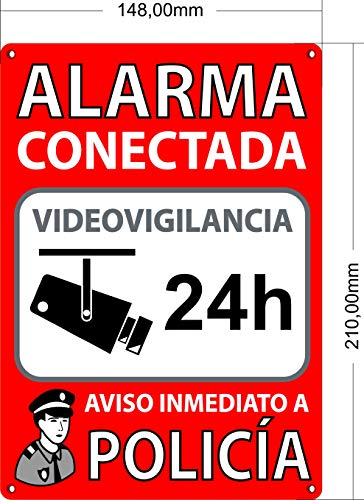 Cartel Alarma Conectada A5 Interior/Exterior | Placa Disuaso