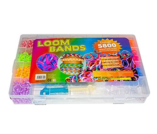 Alsino 5800 STK XXL Loom Bands Gummibänder Starter Box Bunt Gemischt mit Charms Anhänger S-Clips