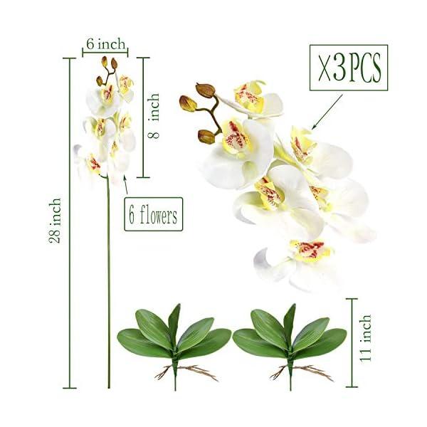 FagusHome 3 Piezas Flores Artificiales Orquídea Phalaenopsis Mariposa 70cm con 2 Piezas Hojas de Orquídea Phalaenopsis…