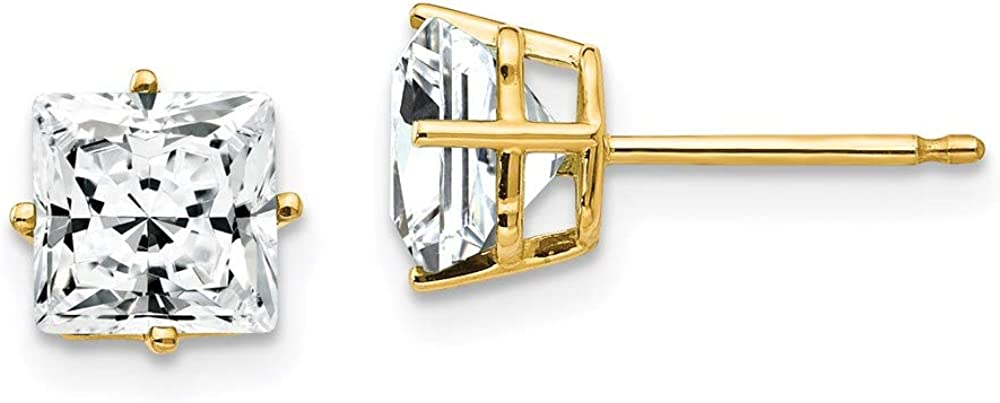 14k Yellow Gold 6mm Princess Cut Cubic Zirconia Post Stud Earrings Birthstone April Gemstone Fine Jewelry For Women Gifts For Her