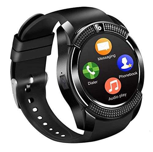Smartwatch, Reloj Inteligente con Ranura para Tarjeta SIM Cámara Pulsera Actividad, Reloj Iinteligente Mujer Hombre niña niños para Xiaomi Redmi Huawei Samsung Hornor Teléfono Android iOS (Negro)