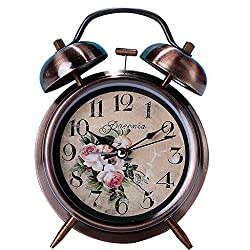 Mechanical Alarm Clock Double Bell Alarm Clock Quartz Analog Retro Vintage Style Bedside Clock with Loud Alarm and Nightlight 4 Inch (Flowers)
