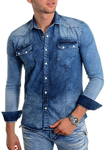 D&R Fashion Camicia da Uomo Denim Blu con Bottoni in Metallo Slim Fit Manica Lunga Stonewash