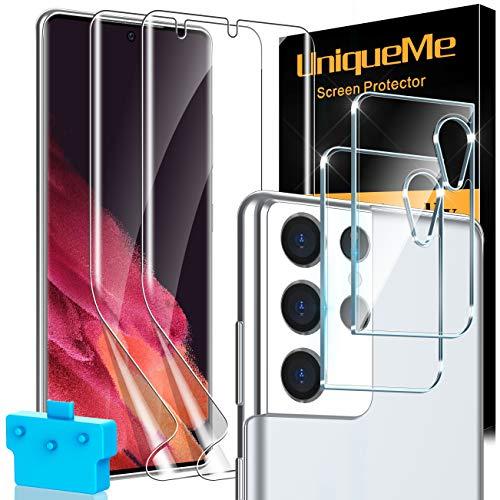 UniqueMe [2 Pezzi] Pellicola Fotocamera Compatibile con Samsung Galaxy S21 Ultra 6.8 Pollici Vetro e [2 Pezzi] Flessibile TPU Pellicola Protettiva Compatibile con Samsung Galaxy S21 Ultra