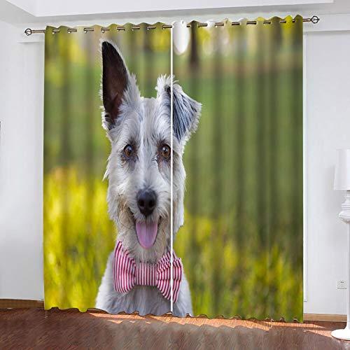 ZXPAG Cortina Aislante Para Dormitorio 3D Cortina Opaca Cortinas De Salón Y Dormitorio Moderno Aislantes Térmicas Con Ojales 2 Piezas - 140X160Cm - Lindo Perro Animal Blanco