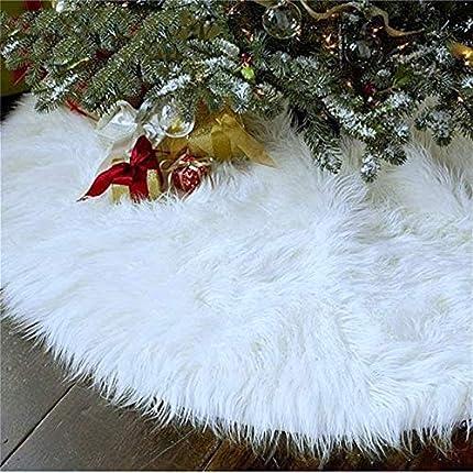 GHONLZIN Falda de Árbol de Navidad de 90 cm Cubiertas de Base de Árbol de Piel Sintética Blanca para Decoraciones Navideñas Decoración para Fiestas Navideñas