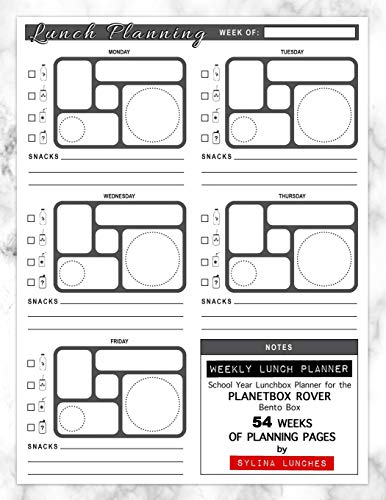 Weekly Lunch Planner: School Year Lunchbox Planner for the PlanetBox Rover Bento Box: 54 Weeks of Planning Pages