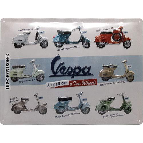 Nostalgic-Art Vespa – Model Chart – Geschenk-Idee für Roller Fans, Retro Blechschild, aus Metall, Vintage-Design zur Dekoration, 30 x 40 cm
