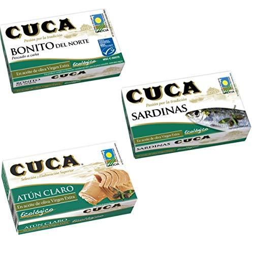 Conservas Ecológicas Cuca - Pack de 3 x 111g - Bonito del Norte, Atún Claro y Sardinas en aceite de oliva virgen extra ecológico