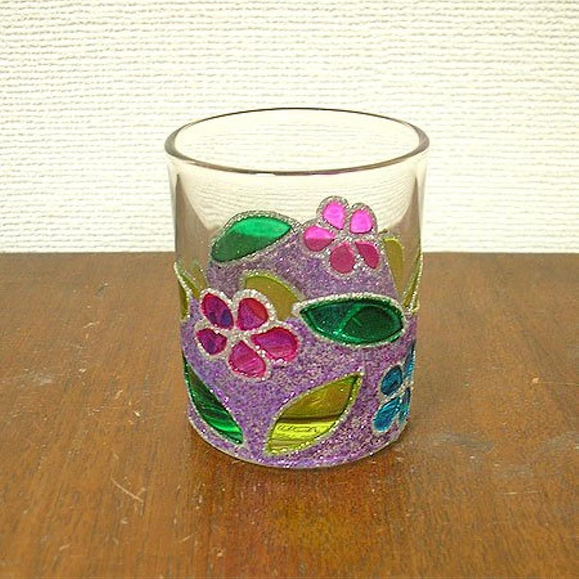 偏見つまずくランチアジアン キャンドルホルダー カップ グラス 花柄 パープル アジアン雑貨
