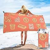RTBB Asciugatura Rapida Asciugamani Leggeri Finanza Simboli Banca Transazioni Sabbia A prova di Sabbia Telo Spiaggia Per Piscina Spiaggia, bianco, 27.5'x55'