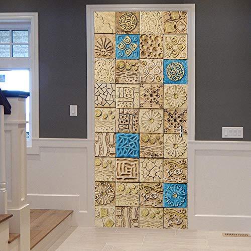 TWSPCF Vinilo Mural de la puerta 3d extraíble DIY engomada del arte Azulejos de imitación de estilo étnico Arte Moderno dormitorio sala de estar Cuarto de baño Etiquetas engomadas de la puerta 90x210c