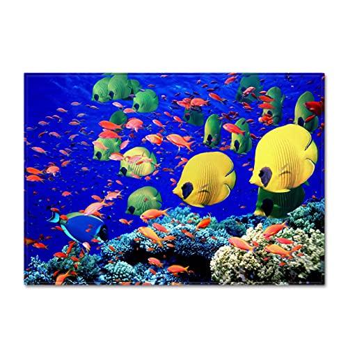 YDyun Alfombras Dormitorio Modernas Pelo Lavables -para Comedor, Dormitorio, Alfombra Grande Ocean Small Fish
