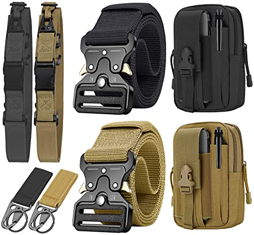 Tactical Belt Military Gun Belts Rigger Webbing with Heavy-Duty Quick-Release Buckle and EDC Molle Pouch