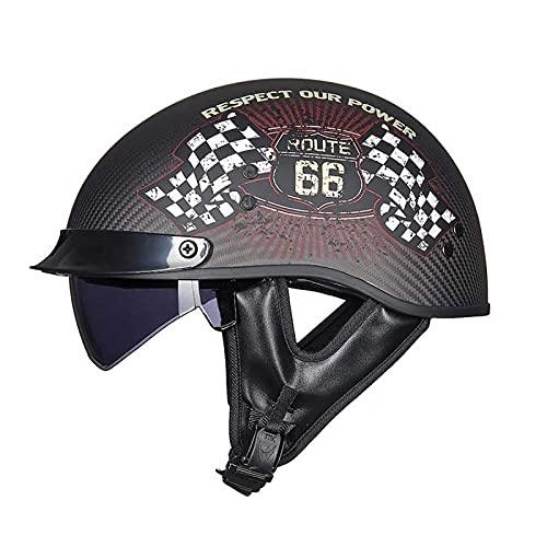 EBAYIN Casco Motocicleta Casco Medio Jet Casco Motocicleta Harley Retro Dot/ECE Certificado Cruiser Helicóptero Chopper Pilot Casco Fibra Carbono Seguridad Casco Anticolisión,E-L=(59~60cm)