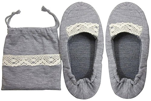 [PureNicot] 携帯スリッパ 女性用 かかと付き シューズタイプ 厚手で履きやすく 折りたためる柔か素材 収納ポーチ付き (グレー(レース))