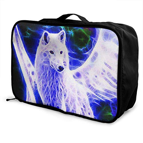 Qurbet Bolsas de Viaje, Portable Luggage Duffel Bag Wolf Wings Travel Bags Carry-on in Trolley Handle