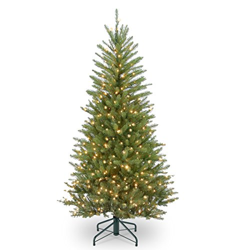 National Tree Company Pre-lit Artificial Mini Christmas Tree | Includes Pre-strung White Lights and Stand | Dunhill Fir Slim - 4.5 ft