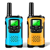 Walkie Talkies for Kids, 22 Channels 2 Way Radio 4 Miles Long Range Set Mini Kids Walkie Talkies with LCD Screen and Flashlight, Best Gift for 3 Years Old and Up Boys and Girls Outdoor (Blue&Orange)