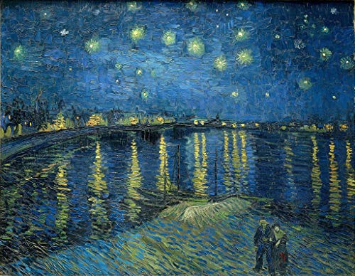 Starry Night Over the Rhône Vincent van Gogh - Educational Chart - Best Print Art Reproduction Quality Wall Decoration Gift - A1 Canvas (30/20 inch) - (76/51 cm) - Stretched, ready to hang