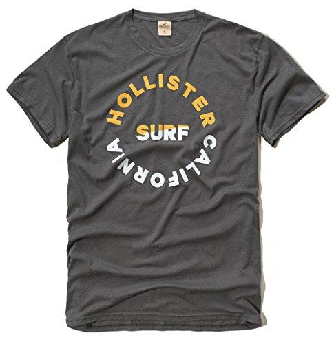 Hollister - Camiseta para hombre con logo gráfico (MEDIM, funda gris)