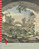 Notebook: Ruins at Pergamon, Probably of the Amphitheatre, Giovanni Battista Borra, 1713-1770, Italian, ca. 1750, Watercolor with black ink over ... textured, cream laid paper with gray wash