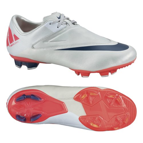 Nike Jr Mercurial Glide II FG niños de fútbol Zapatos, Granite/White/Solar Red/Imperial Purple