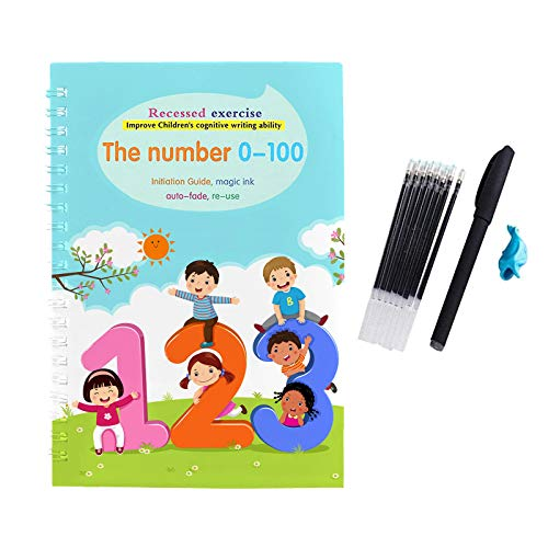 Reusable Magic Calligraphy Copybook Alphabet - Number - Math - Drawing -4 in 1 Magic Copybook Set Learning for Kids (D4 1X Magic Exercise Book 1xpen)