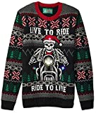 Ugly Christmas Sweater Company Men's Assorted Light-Up Xmas Crew Neck Sweaters with Multi-Colored LED Flashing Lights, Black Skeleton Biker, X-Large