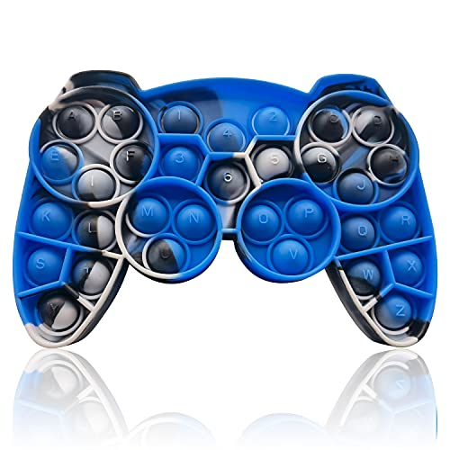 HooYiiok Gamepad Tie Dye Push Pop Pop Fidget Toy, Stress Relief Pop Game for Autism ADD and ADHD Special Needs Anxiety, Popper Fidgets Toys for Girls and Kids (Blue Black White)