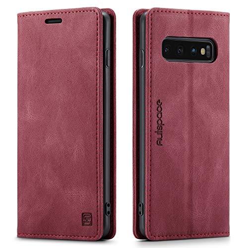 LOLFZ Hülle für Samsung Galaxy S10, Vintage Dünne Leder Handyhülle mit RFID Schutz Kartenfach Ständer Magnetische Flip Schutzhülle Kompatibel mit Galaxy S10 - Rot