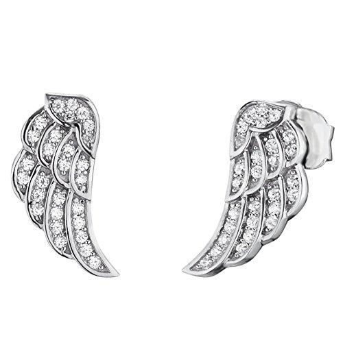 Engelsrufer Flügel Ohrstecker für Damen 925er-Sterlingsilber Weiße Zirkonia Größe 11 mm