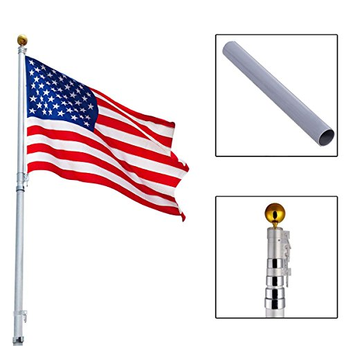 20ft Aluminum Telescoping Flagpole w/ 1 US America Flag Kit Outdoor Gold Ball - Easy Set Up in Mnutes with Rotating Lock Between Each Sections
