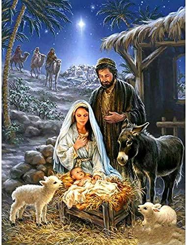 JONJUMP Cuadro 5D para manualidades con diseño de paisaje de animales con texto en inglés 'El nacimiento de Jesús' (35 x 45 cm)