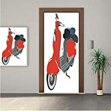 1960s Decorations Door Wall Mural Wallpaper Stickers,Motor Scooter Doodle in Nice Sixties Style Driving Motorcycle Urban Cartoon Clipart Decorative 24x63' Vinyl Removable Decals for Home Decoration