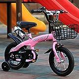 La bicicleta es adecuada para niños de 3 a 6 años: 18 pulgadas (14.12.16), freno doble, marco de fibra de carbono, antideslizante, se puede utilizar como regalo de cumpleaños, rosa, 14