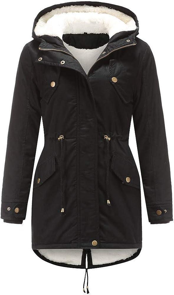 Women Drawstring Hoodie Coat Warm Inside Fleece Padded Slim Zipper Medium-long Wadded Jacket Cotton Parkas